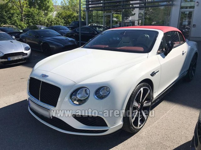 Hire and delivery to Grenoble Isère Aéroport (GNB) the car Bentley Continental GTC V8 S