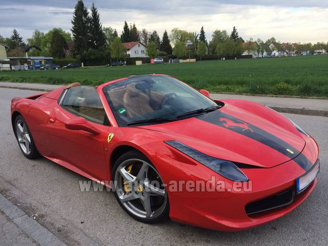 Hire and delivery to Grenoble Isère Aéroport (GNB) the car Ferrari 458 Italia Spider Cabrio
