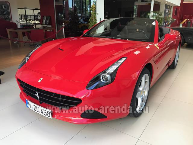Hire and delivery to Grenoble Isère Aéroport (GNB) the car Ferrari California T Convertible Red
