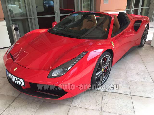 Hire and delivery to Grenoble Isère Aéroport (GNB) the car Ferrari 488 GTB Spider Cabrio