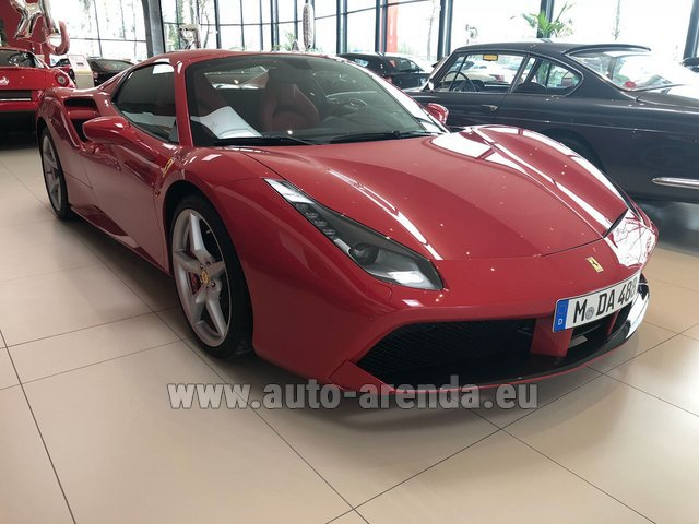 Hire and delivery to Aéroport Lyon-Saint Exupéry (LYS) the car Ferrari 488 Spider