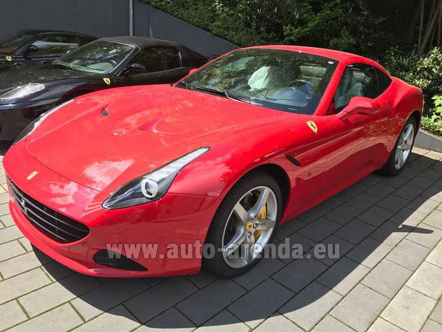 Hire and delivery to Aéroport Lyon-Saint Exupéry (LYS) the car Ferrari California T Cabrio (Red)