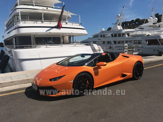 Hire and delivery to Aéroport Lyon-Saint Exupéry (LYS) the car Lamborghini Huracan Spyder Cabrio