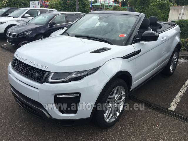 Hire and delivery to Genève Aéroport (GVA) the car Land Rover Range Rover Evoque HSE Cabrio SD4 Aut. Dynamic