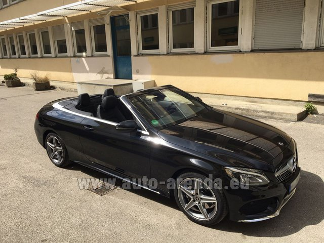 Hire and delivery to Grenoble Isère Aéroport (GNB) the car Mercedes-Benz C 180 Cabrio AMG Equipment Black
