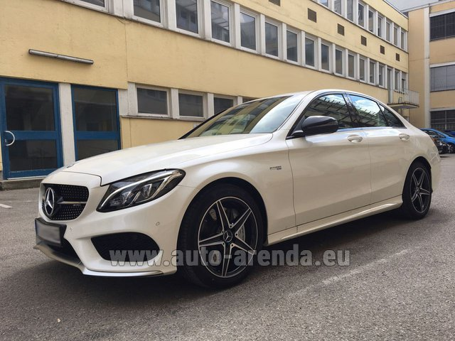 Rental Mercedes-Benz C-Class C43 AMG Biturbo 4MATIC White in Courchevel