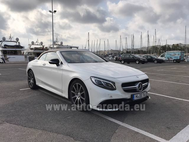Hire and delivery to Grenoble Isère Aéroport (GNB) the car Mercedes-Benz S 63 Cabrio AMG