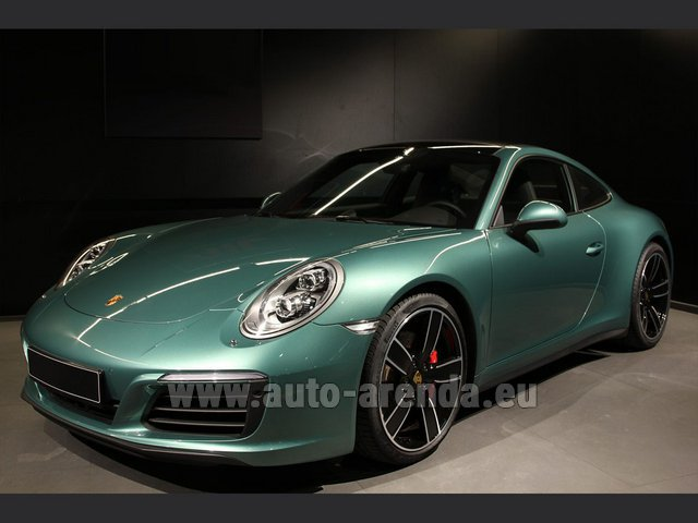 Hire and delivery to Aéroport Chambéry Savoie Mont Blanc (CMF) the car Porsche 911 991 4S Racinggreen Individual Sport Chrono