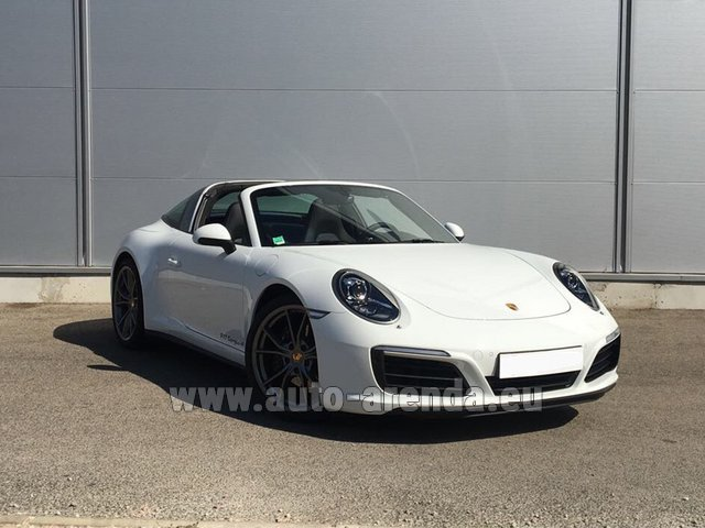 Hire and delivery to Grenoble Isère Aéroport (GNB) the car Porsche 911 Targa 4S White