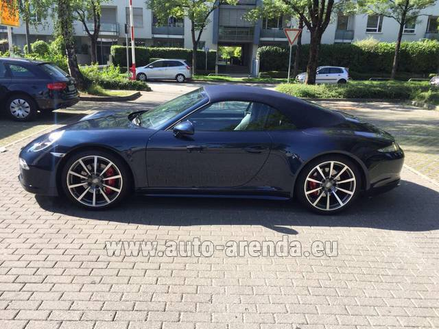 Hire and delivery to Grenoble Isère Aéroport (GNB) the car Porsche 911 Carrera 4S Cabriolet