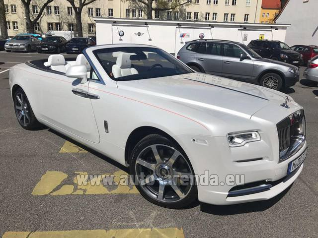 Hire and delivery to Grenoble Isère Aéroport (GNB) the car Rolls-Royce Dawn (White)