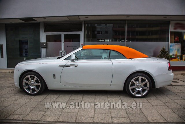 Hire and delivery to Genève Aéroport (GVA) the car Rolls-Royce Dawn White